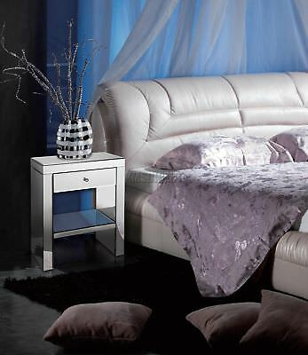 FoxHunter Mirrored Furniture Glass 1 Drawer Bedside Cabinet Table Bedroom MBC02