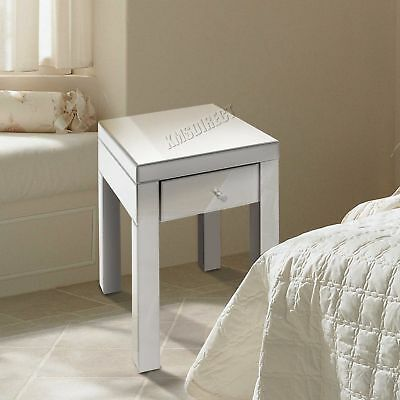 FoxHunter Mirrored Furniture Glass 1 Drawer Bedside Cabinet Table Bedroom MBC06
