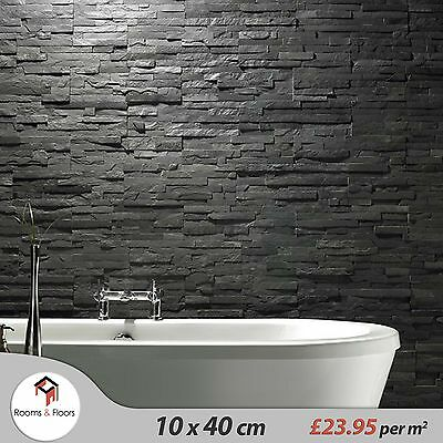 Sample Black Slate Split Face Cladding Mosaic Tiles for Walls - £23.95/m2
