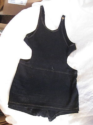 Old 1920's Mens Black One Piece Wool Button Swim Bathing Suit