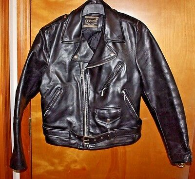 Vintage COOPER Black Leather Biker Jacket Size 44 Made In USA Perfecto style