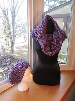 New Scarf HandmadeThick purple Infinity Crocheted Cowl & Slouchy Hat Set