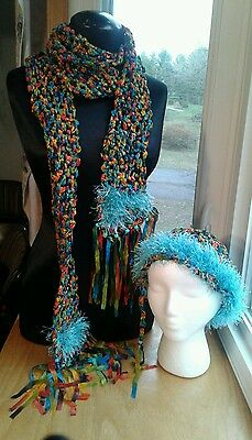 New Scarf Set Handmade Ribbon Scarf & Hat Crocheted w/ Drawstring Beads Long