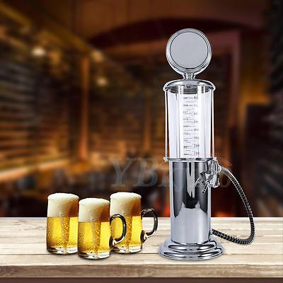 Retro Silver Fill 'er Up Gas Pump Drinking Wine Beer Liquor Dispenser Home Party