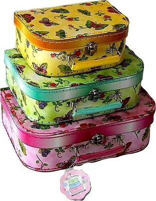 Butterfly Set of 3 Storage Carry Cases Suitcases Girls Children NEW