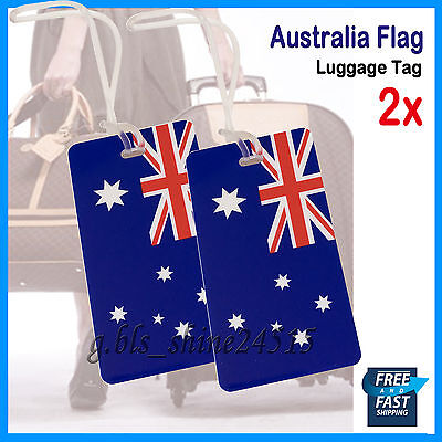 2x Australian Flag Luggage Tag Strap Travel School Bag Name Label Gift Airpline