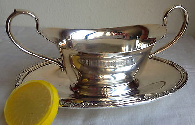 Silverplate Gravy Boat Attached Underplate Camille International Silver Co. 6013