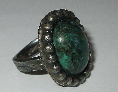 MARBLED GREEN vintage clunky stone cab cocktail ring 6.5 heavy GUC