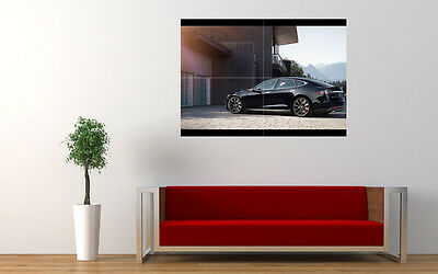 """BLACK TESLA MODEL S 2015 NEW LARGE ART PRINT POSTER PICTURE WALL 33.1""""x23.4"""""""