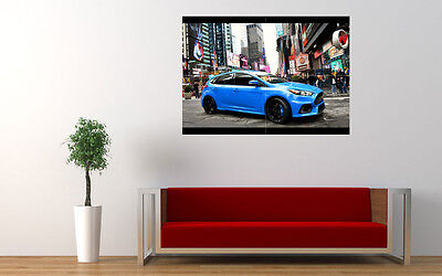 """BLUE FORD FOCUS RS 2015 NEW LARGE ART PRINT POSTER PICTURE WALL 33.1""""x23.4"""""""