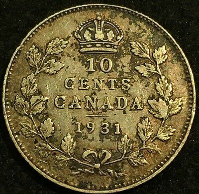 1931 Canada 10 Cents Silver Coin