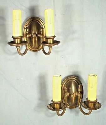 VINTAGE PAIR OF EARLY 20th CENTURY DOUBLE ARM OVAL BACK CLASSICAL SCONCES