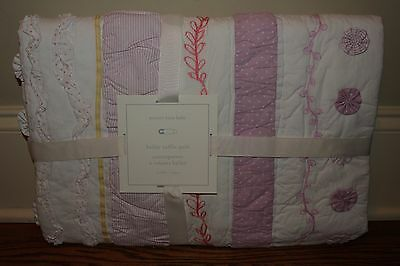 NWT Pottery Barn Kids Bailey Ruffle nursery crib toddler quilt coral pink