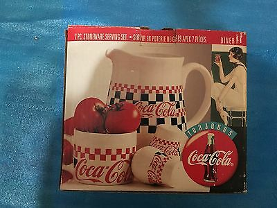 Mew Coca Cola 7 Piece Stoneware Serving Set - Gibson - 1996 In Original Box