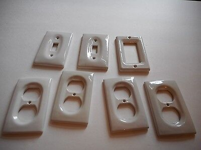Vintage Lot Of Porcelain Light Switches & Outlet Covers