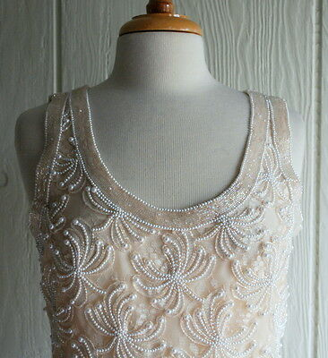 * Vintage Lace Beige Evening Dress Duster Set Faux Pearls Beaded Size S