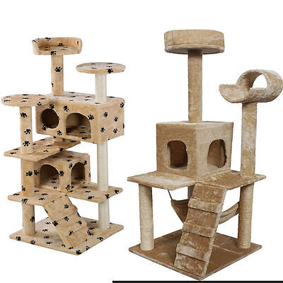 Cat Tree Tower Condo Furniture Scratch Post Kitty Pet House Play Beige Paws MAG
