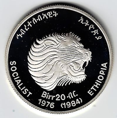 ETHIOPIA 20 Birr 1984 KM73 Ag.925 23g Decade for Women PROOF minted 372 pcs.ONLY