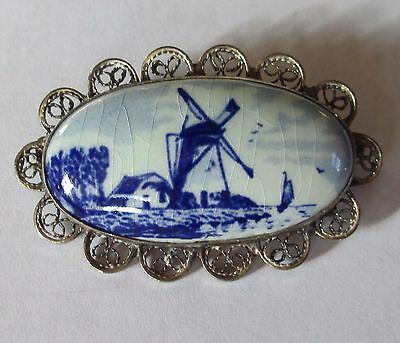DELFT signed DUTCH WINDMILL painted scenic brooch 835 SILVER filigree c-clasp
