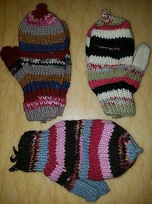 Winter gloves convertible mittens free size kids+10 to adults