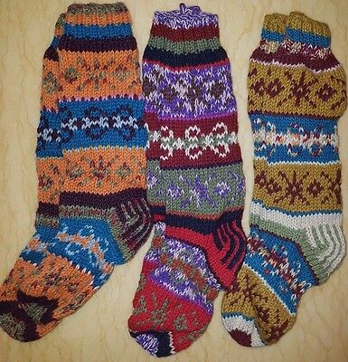 New Hand Knit socks 100% Wool Double thick socks Unisex 8-11, Made in Nepal