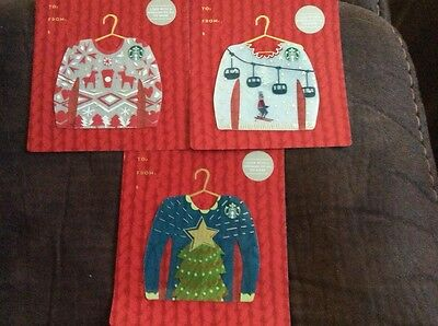 New In Hand Starbucks Gift Cards Lot Of 3 Christmas Sweaters
