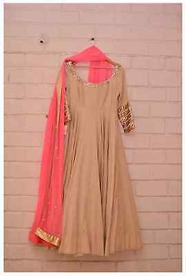 Indian Designer Pink & Cream Bollywood Sexy Indian Traditional Gown with Dupatta