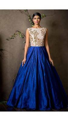 Indian Designer Blue & Cream Bollywood Sexy Indian Traditional Gown