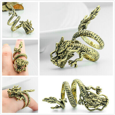 New Mens Jewelry Chinese Dragon Solid Ancient Bronze color Ring Adjustable