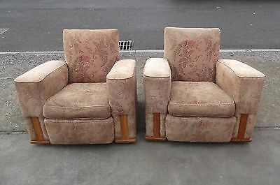 Pair Of Art Deco Armchairs For Reupholstery    Delivery Available