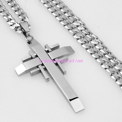 "24"" 316L Stainless Steel Cuban Curb Chain Necklace Mens Women's Cross Pendant"
