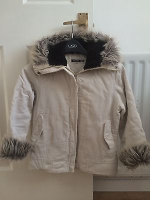 Girls Winter Coat Age 10 Cream Fur Hood Quilted Lining Pockets Cord