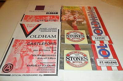 4 Oldham Rugby League Programmes 1980's -Listed