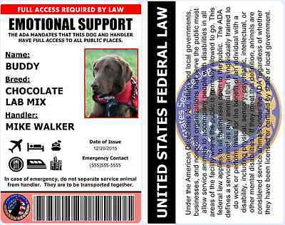 Professional Emotional Support Dog ID Card - ADA Rated and Personalized! - 1B