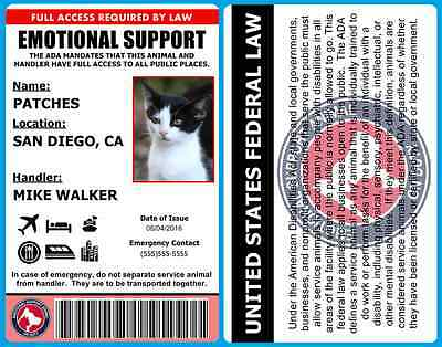 Professional Emotional Support Animal ID Card - Fully Personalized! - 2A