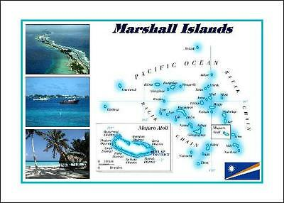 Marshall Islands Country Map New Postcard