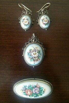 ANTIQUE  Russian Finift Jewellery Set Enamel and Mel'khior Silver