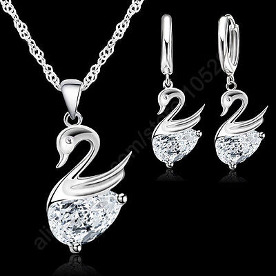 925 Sterling Silver Swans with Crystals  Necklace and Earring Set UK SELLER
