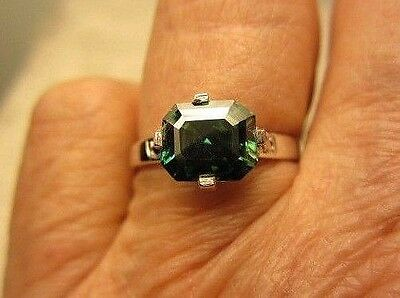 SI 1 Emerald Cut Green/Blue Moissanite & Black Diamond in Sterling Silver Size 7