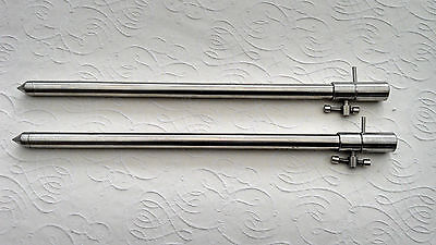 2 SOLID STAINLESS STEEL BANK STICKS 30 cm - 50 cm CARP FISHING TACKLE