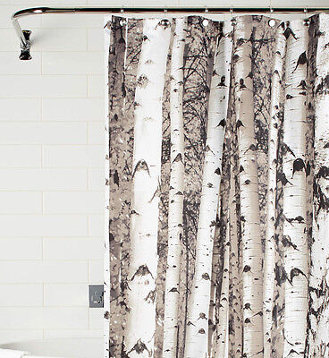 Birch FOREST print SHOWER CURTAIN Water proof fabric WHITE polyester 72x72