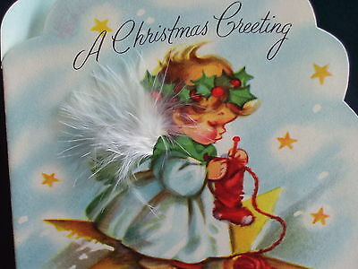 Vintage Holiday Christmas Greeting Card Little Angel On A Star