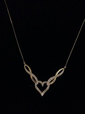 Stunning 9ct gold And Diamond Heart Necklace Brand New With Tags