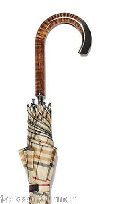 Harvy Tartans Tiger Maple Wood Sculpted Crook Handle Tan Plaid Unisex Umbrella
