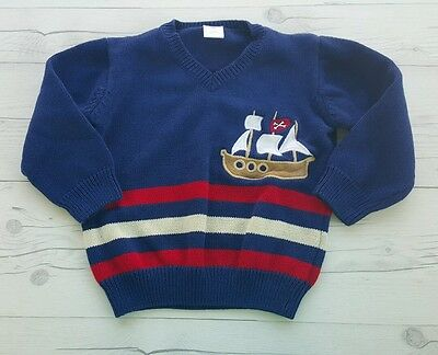 GYMBOREE Boys' Fall Winter Nautical Boat Navy Blue Sweater 2t