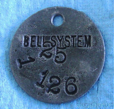 Antique BELL SYSTEMS TELEPHONE Metal Check Tag; Tool Check or Property Tag