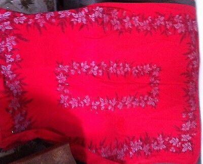 """Red vintage Christmas tablecloth 57"""" x 66"""""""