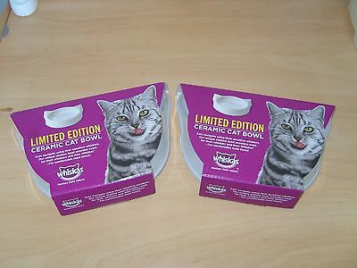 2 New and Boxed White Limited Edition Whiskas Ceramic Cat Feeding Bowls.