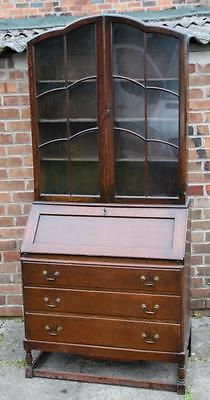 A 1920s Oak Bureau Bookcase, Astrical Glazed Display Cabinet Top