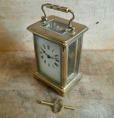 Antique Brass Carriage Clock Platform Escapement Working Condition